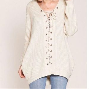 Listicle Lace Up Sweater